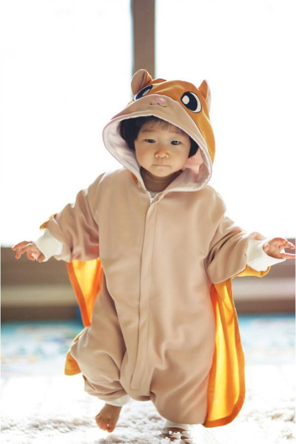 gold flying squirrel baby animal onesie 4kigurumicom