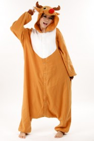 Golden Reindeer Kigurumi Animal Onesie Christmas Costume