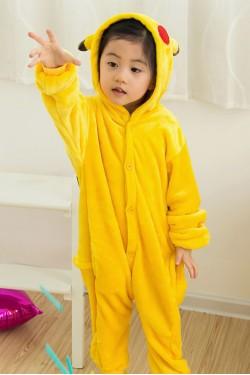 Flannel Pikachu Kigurumi Kids Onesies