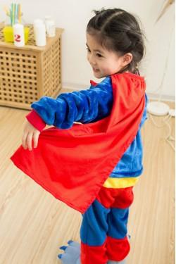 Flannel Superman Kigurumi Kids Onesies