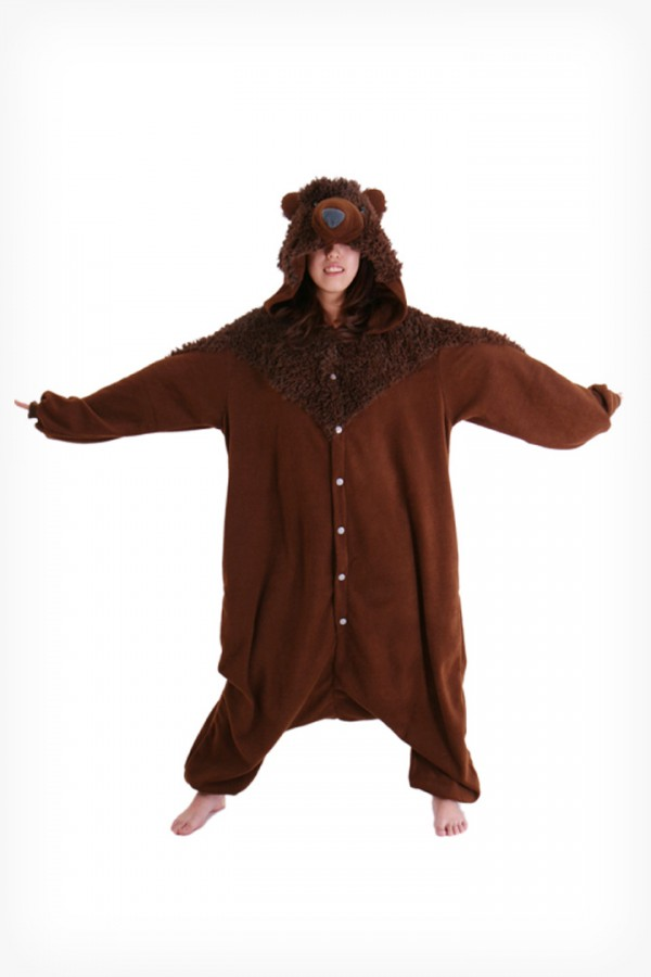 Brown Teddy Bear Onesie Kigurumi Pajamas - 4kigurumi.com