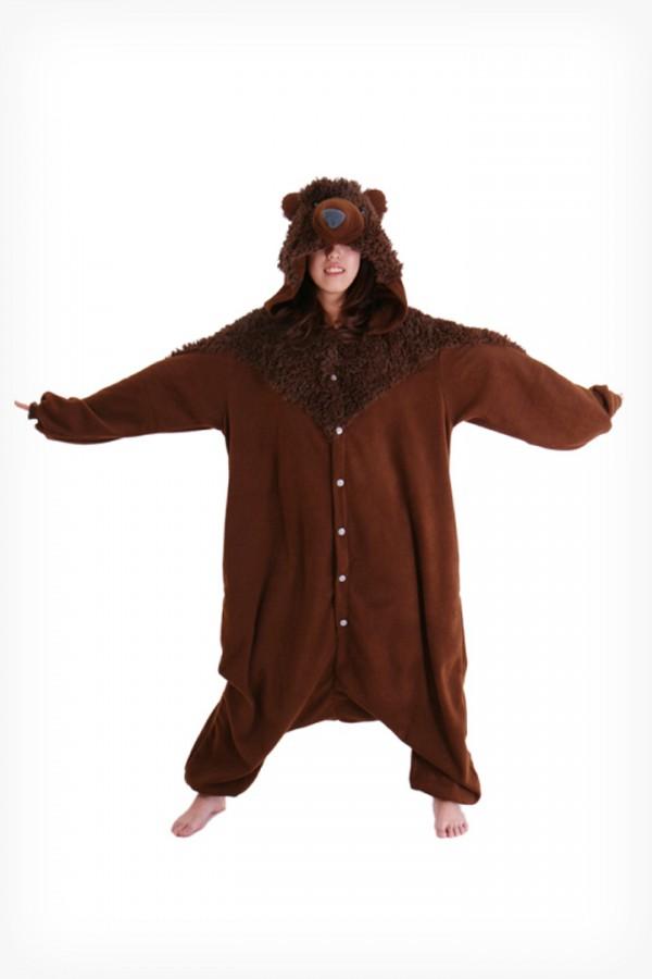Brown Teddy Bear Onesie Kigurumi Pajamas - 4kigurumi.com