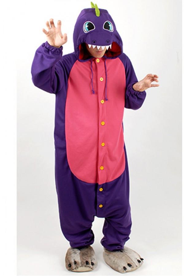 purple dinosaur kigurumi halloween onesie