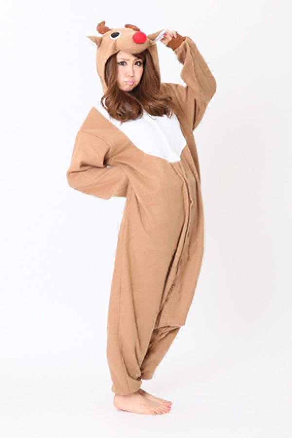 436266412490 Beige Reindeer Kigurumi Animal Onesie Christmas Costume - 4kigurumi.com