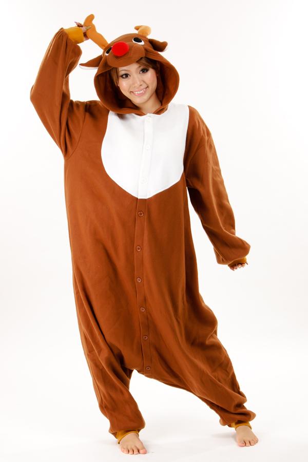 Brown Reindeer Kigurumi Animal Onesie Christmas Costume ...