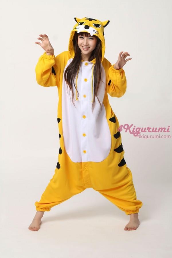 Yellow Tiger Onesie Animal Costumes Kigurumi Pajamas - 4kigurumi.com 1b7f43539